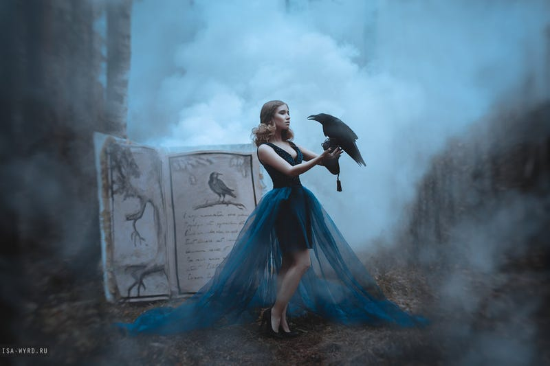 Illustration for article titled On the next day of CAHmas, the card czar gave to me, a woman holding a raven magically
