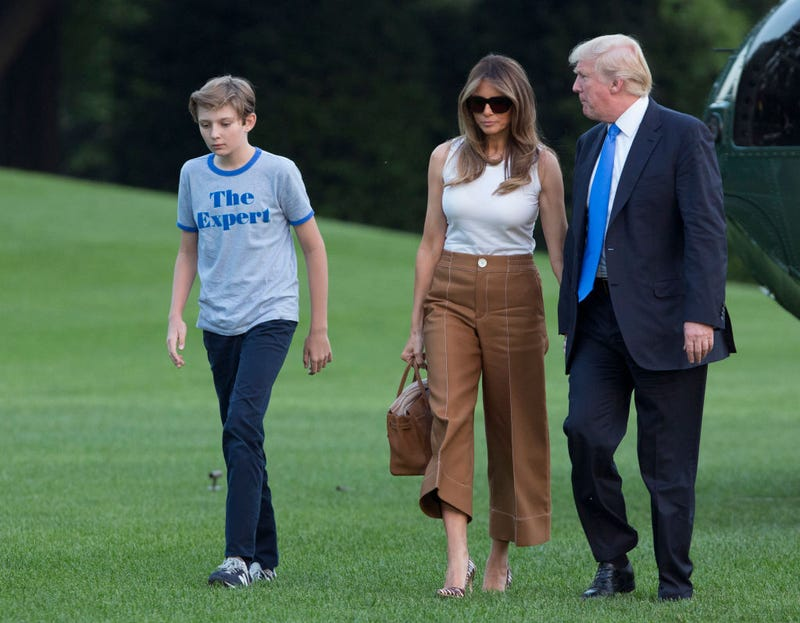 President Donald Trump, with first lady Melania Trump and their son, Barron Trump, arrives at the White House on June 11, 2017. (Chris Kleponis-Pool/Getty Images)