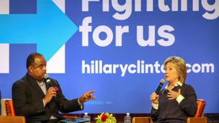 Democratic presidential candidate Hillary Clinton responds to a question from Roland Martin, host of TV One's NewsOne Now, during a town hall meeting at Claflin University in Orangeburg, S.C., Nov. 7, 2015.Richard Burkhart/AP Images for TV One