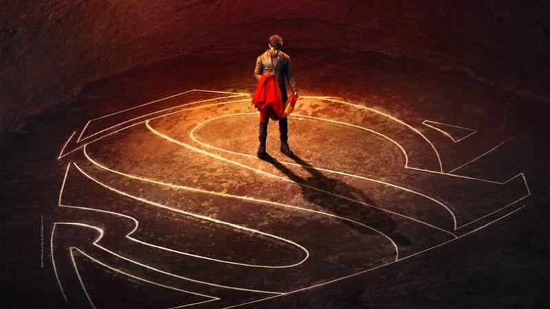 Seg-El (Cameron Cuffe) grasping his grandson's cape in a poster for Krypton.