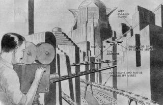 """Illustration for article titled 1927 Magazine Looks at Metropolis, """"A Movie Based On Science"""""""