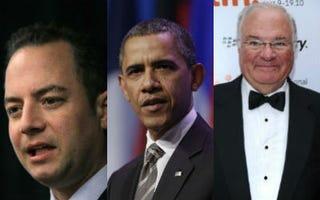 Reince Priebus (Scott Olson/Getty); Barack Obama (John Gress/Getty);Joe Ricketts (Alberto E. Rodriguez/Getty)