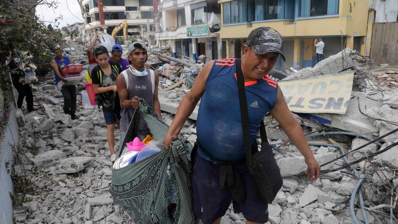 Residents recover their belongings in Pedernales, Ecuador, several days after a magnitude 7.8 earthquake, the largest in decades, rocked the coastline last year. Photo: AP