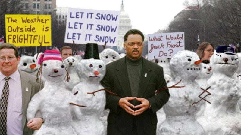 Snowmen from across the nation gather at the Washington Monument to protest global warming.