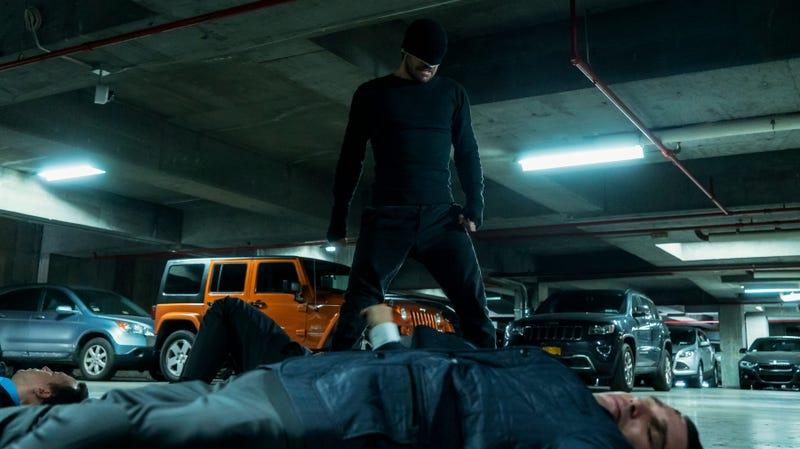 Matt Murdock standing over a group of fallen enemies.