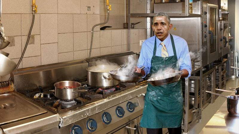 Illustration for article titled Obama Scrambling Around White House Kitchen Before State Dinner