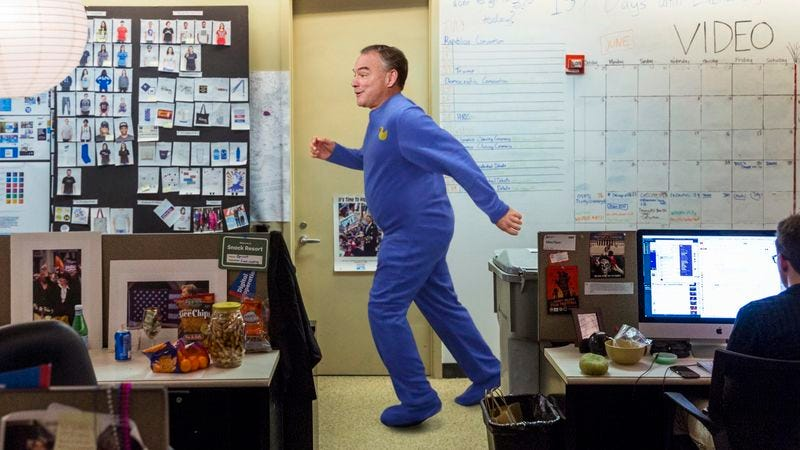 Illustration for article titled Wound-Up Tim Kaine Running Around Clinton Campaign Headquarters In Pajamas