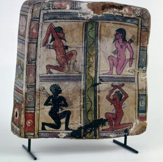 Egypt (Roman period), mummy footcase with four nude prisoners, late first century B.C. to early first century. Cartonnage, 25.5 cm high.Ny Carlsberg Glyptotek, Copenhagen
