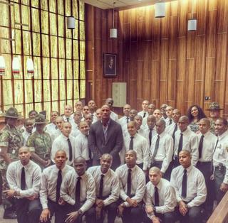 Dwayne Johnson surrounded by graduates ofMiami-Dade County Correctionsand Rehabilitation Department Boot Camp Program.Dwayne Johnson Instagram