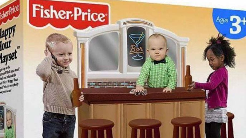 Illustration for article titled Sorry, but that awesome Fisher-Price Happy Hour set is a fake