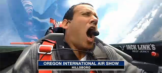 Illustration for article titled News Reporter Squeals Like A Stuck Pig When He Flies Upside Down