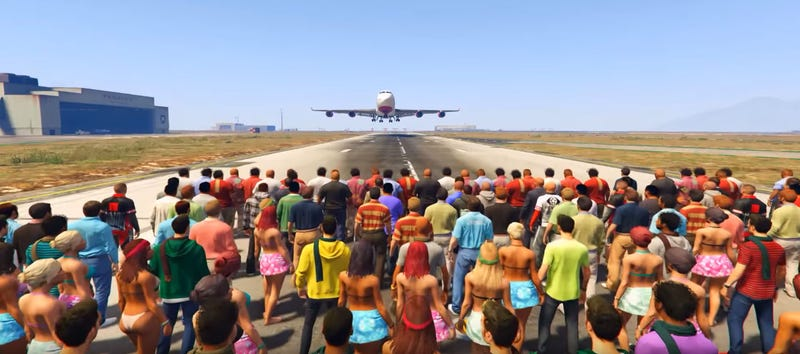 Illustration for article titled GTA V Jumbo Jet vs 100 People