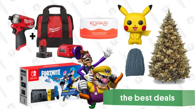 Tuesday s Best Deals: Fortnite Switch Console, Kopari Beauty, Christmas Trees, Milwaukee Impact Driver, Winter Hats, Giant Pikachu Funko Pop, and More