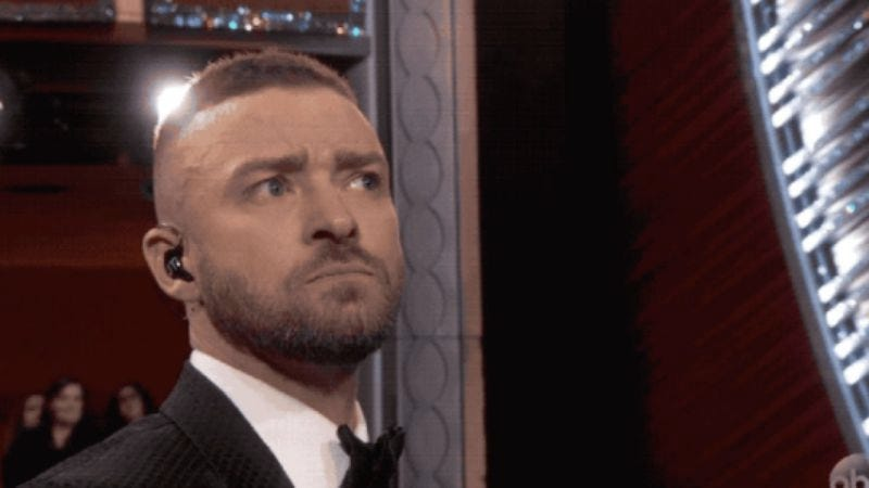 Illustration for article titled Please use this GIF of Justin Timberlake's stink-eye responsibly
