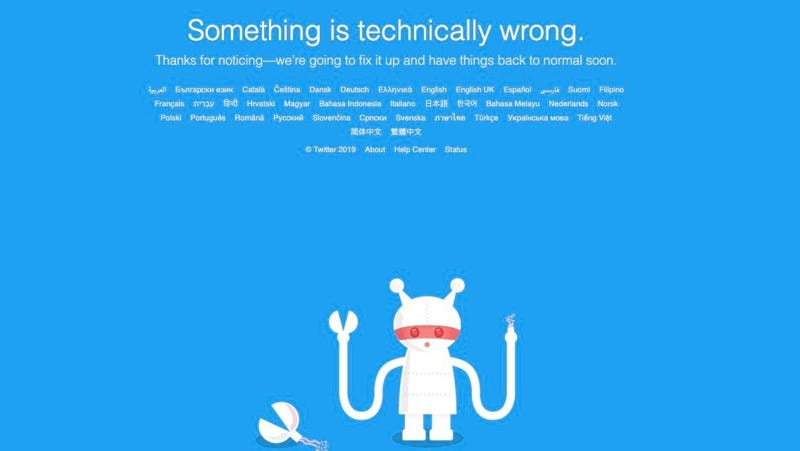 Illustration for article titled Twitter Is Down, Which Must Be Why No One's Liking My Sick Tweet [Updated: It's Back]
