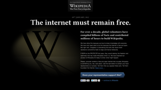 Illustration for article titled Wikipedia Will Go Offline Wednesday for SOPA Protest (Update: Google's Joining in Too)