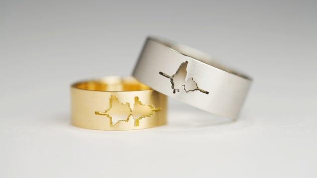 Resultado de imagem para wedding rings with voice waves