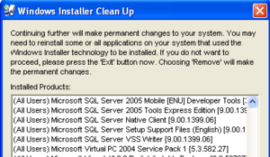 Illustration for article titled Bowl over corrupt installations with Windows Installer CleanUp Utility