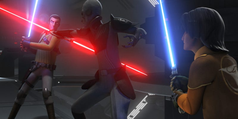 Kanan and Ezra battle the Inquisitor in season one of Star Wars Rebels. Images: All Disney/Lucasfilm