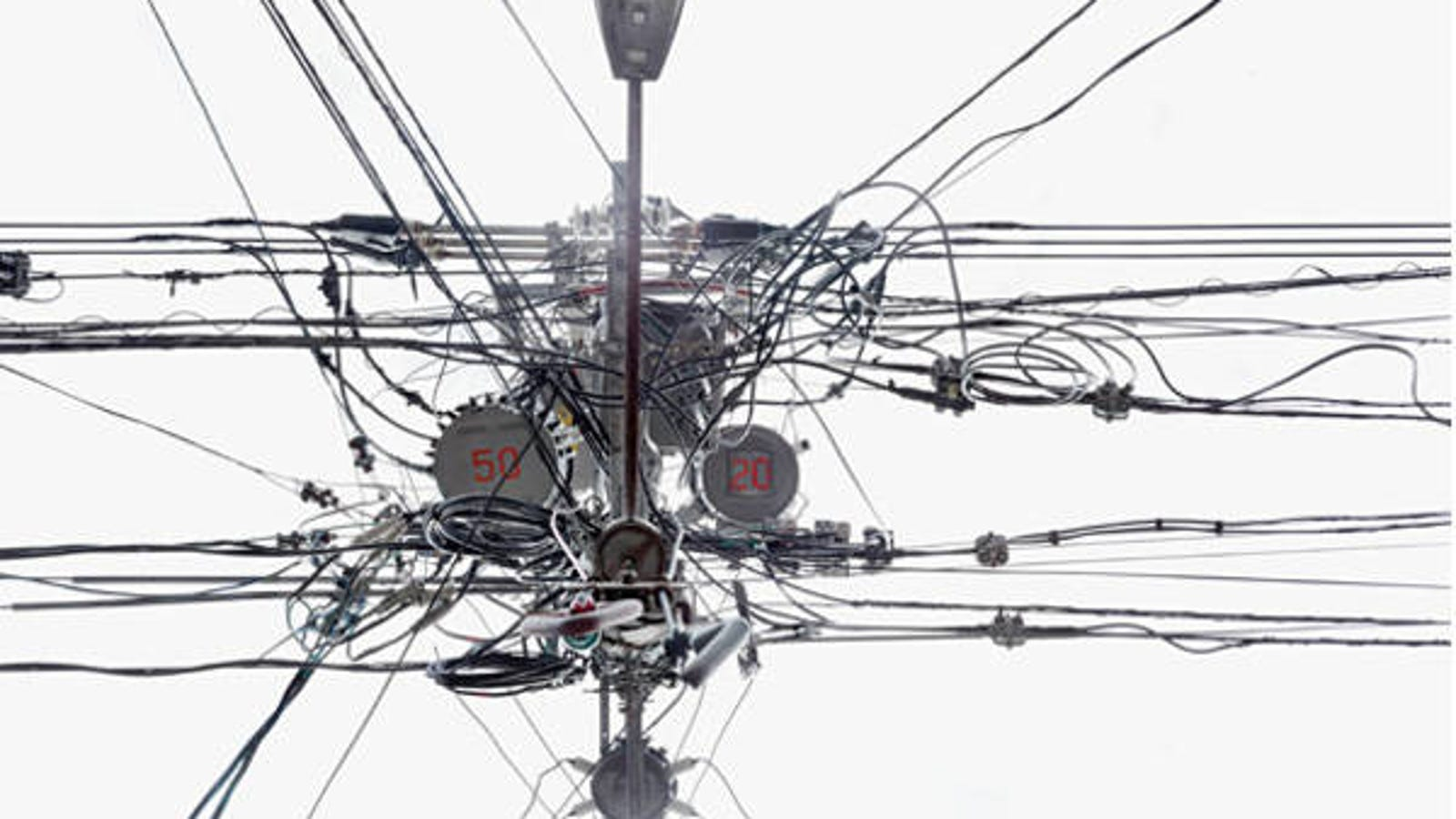 A View of Tangled Telephone Wires in Japan