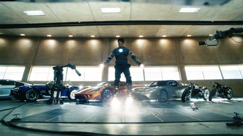 Illustration for article titled Iron Man Super Bowl Commercial Shows Off Stark's Hot Garage