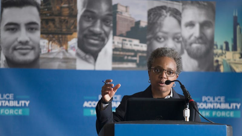 Lori Lightfoot, chair of the Chicago Police Board, addresses community leaders and members of the news media about the findings of the Police Accountability Task Force on April 13, 2016, in Chicago. The task force found the Chicago Police Department was plagued by systematic racism and had lost the trust of the community.