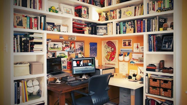 tucked in a corner a bookshelf office