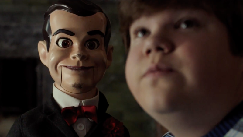 Slappy the Dummy staring at Jeremy Ray Taylor's Sonny Quinn in Goosebumps 2: Haunted Halloween.