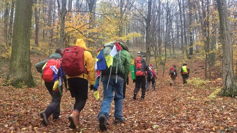 The pilgrims walk to Katowice, Poland.