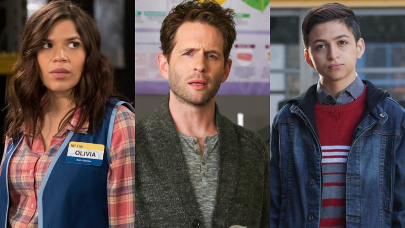America Ferrera in Superstore (left), Glenn Howerton in A.P. Bio, J.J. Totah in Champions