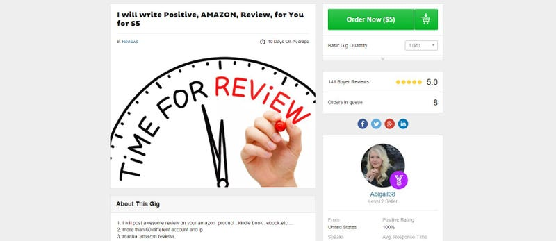 Illustration for article titled Amazon is Suing 1,000 Fake Five-Star Reviewers