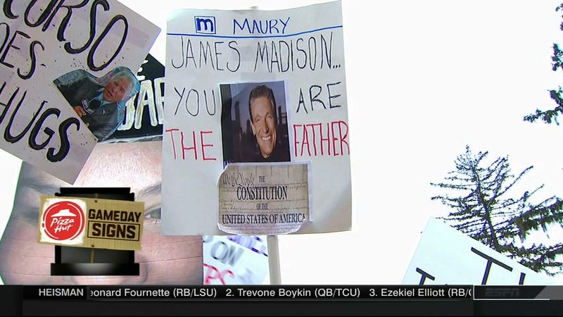 Illustration for article titled Lee Corso Does Butt Chugs: Today's James Madison College GameDay Sign Roundup