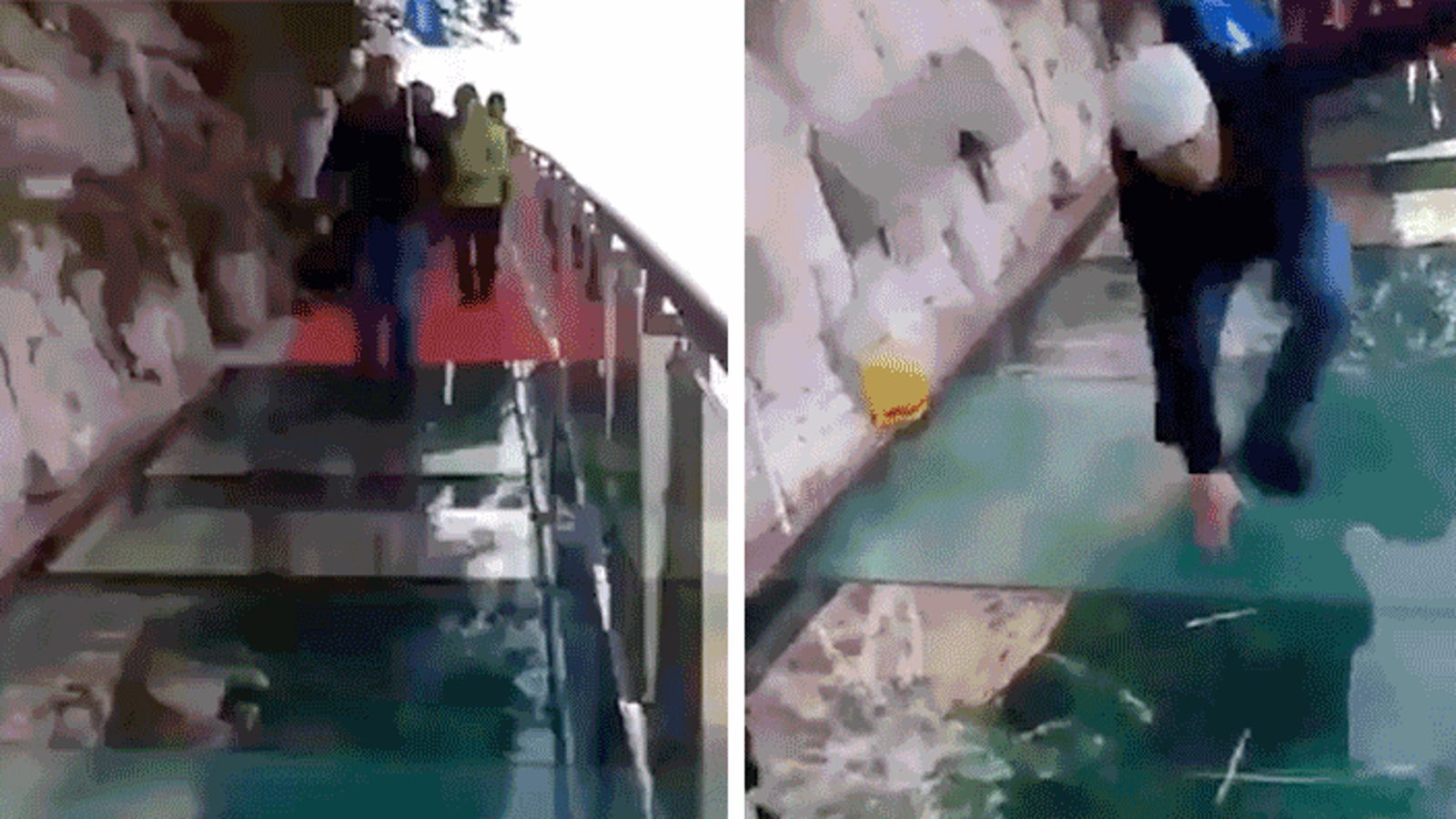 This Fake Cracking Effect On a 3,800-Foot High Glass Skywalk Might Be the Meanest Prank Ever