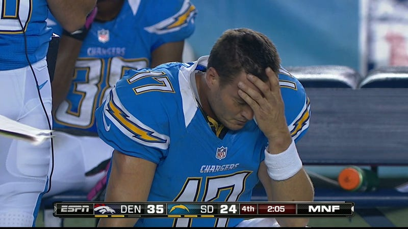 Illustration for article titled If Ever A Moment Called For Facepalm, It's Philip Rivers Last Night