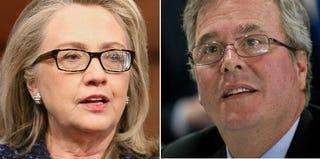 Hillary Clinton (Chip Somodevilla/Getty Images); Jeb Bush (Nicholas Kamm/Getty Images)