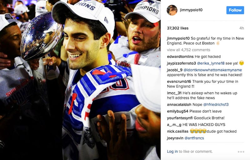 Illustration for article titled Jimmy Garoppolo Posts Goodbye To Patriots On Instagram, Although He Might Have Been Hacked