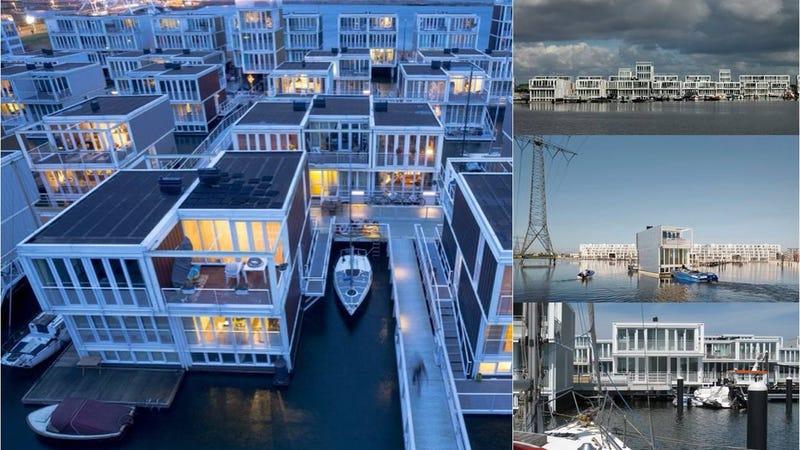 Casas flotantes que suben y bajan con el nivel del mar for Escaleras que suben y bajan