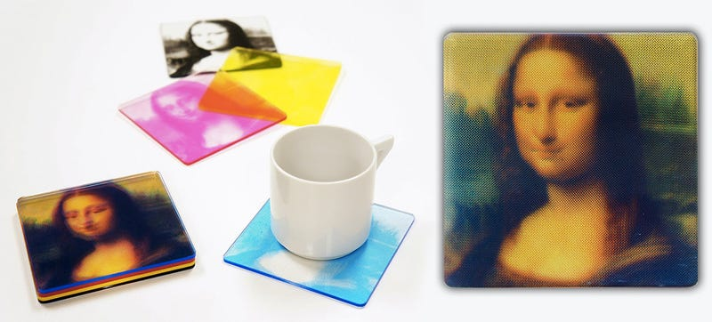 Illustration for article titled When These CMYK Coasters Are Stacked a Masterpiece Is Revealed