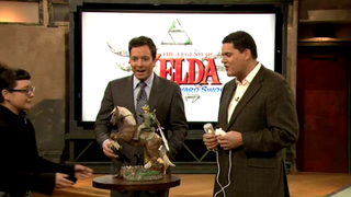 Illustration for article titled Jimmy Fallon Gets Some Sweet Zelda Swag from  Reggie Fils-Aime in This Skyward Sword TV Appearance