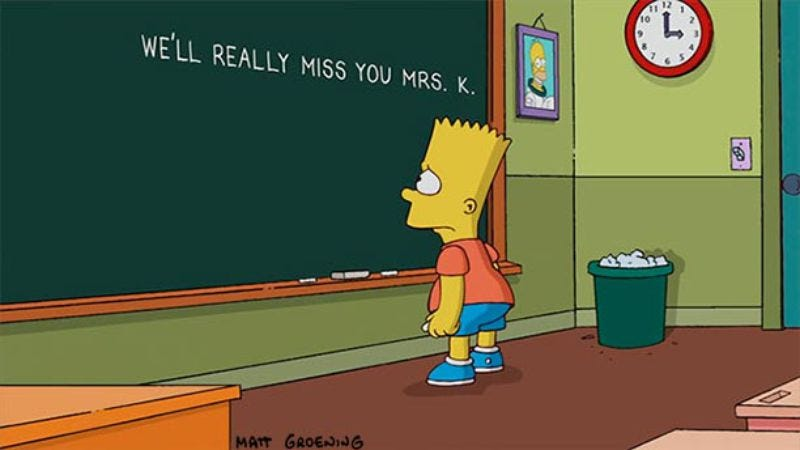 Illustration for article titled The Simpsons paid tribute to Marcia Wallace with the saddest chalkboard gag you'll ever see