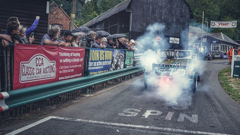 Mitch Evans sets off on the Shelsley Walsh Hill Climb