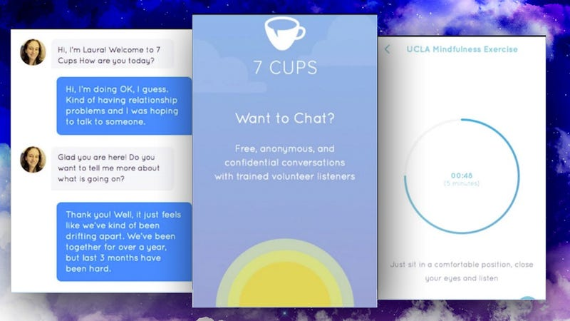 Illustration for article titled 7 Cups Puts Trained Listeners and Mindfulness Exercises on Your Phone, for Free