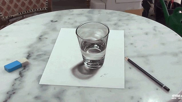 This super realistic glass of water is actually a drawing