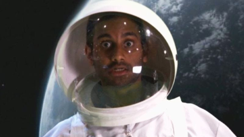 Illustration for article titled Aziz Ansari was in Gravity (or that's what he wants you to think from this clip he showed on Conan)