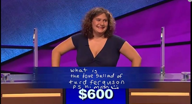 Illustration for article titled Wily Jeopardy! Contestant Gets Alex Trebek to Say 'Turd Ferguson'