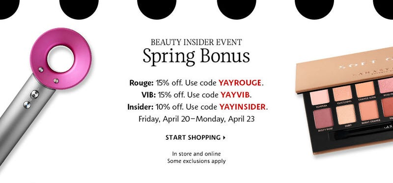 Spring Bonus up to 15% off any order | Sephora