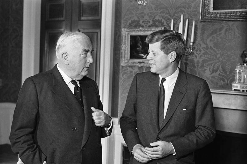Prime Minister Robert Menzies chats with President Kennedy during a visit to the White House, Washington, Feb. 24, 1961. They posed for photographers in the Red Room of the Mansion. (AP Photo)