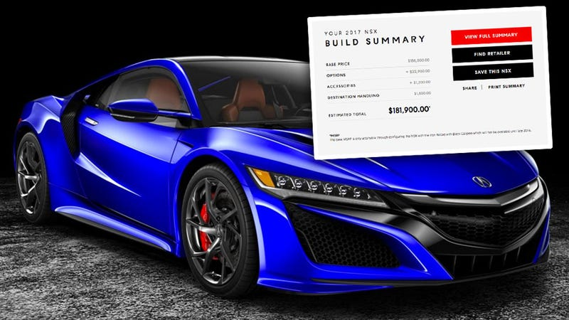 Illustration for article titled The Acura NSX Configurator Is Out Early And Holy Hell Are The Floor Mats Expensive