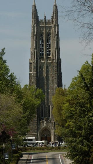 A view of Duke University Chapel in Durham, N.C., on April 11, 2006Sara D. Davis/Getty Images