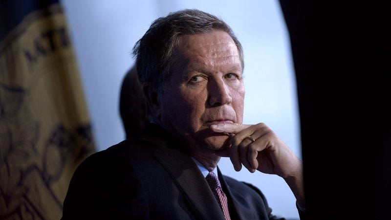 Illustration for article titled Kasich Privately Worried He'll Never Have Charisma Necessary To Incite Supporters To Violent Frenzy